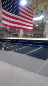 Laying out the tracks for the mobile aisle shelving system